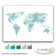 HUGE Custom World Map Options  Printable Image by HappyPlaceArt, $15.00