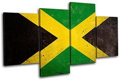 Bold Bloc Design - Abstract Jamaican Maps Flags - 80x45cm Canvas Art Print Box Framed Picture Wall Hanging - Hand Made In The UK - Framed And Ready To Hang