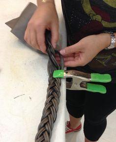 Leather braiding detail.