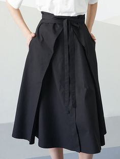 Shop Midi Skirts - Black Cotton Simple Plain Pockets Midi Skirt with Belt online. Discover unique designers fashion at StyleWe.com.