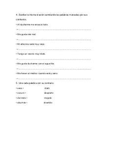 Actividades de antónimos y sinónimos