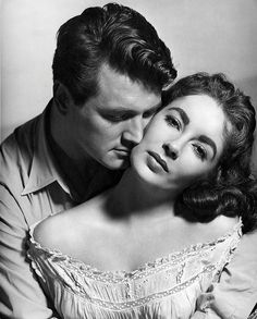 giant. movie. 50s. classic. rock hudson. black and white. couple. liz taylor. elizabeth taylor. lovely. true love