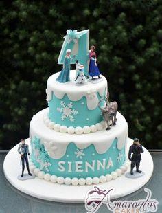 Two tier Frozen Cake – – Birthday Cakes Melbourne – Amarantos Ca. Two tier Frozen Elsa Birthday Cake, Frozen Themed Birthday Cake, Themed Cakes, 5th Birthday, Birthday Ideas, Frozen Party Cake, Pastel Frozen, Bolo Toy Story, Elsa Cakes