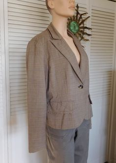 Brown Plaid Fringed Suit Blazer Plus Size 18 Shoulder Pads Vintage by LandofBridget on Etsy