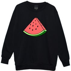 WATERMELON OVERSIZED SWEATER ($28) ❤ liked on Polyvore featuring tops, sweaters, shirts, over sized sweaters, oversized boyfriend sweater, bohemian tops, black boho top and black jumper
