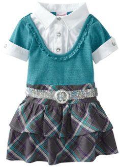 Nannette Girls 2-6X 1 Pieced Belt Dress