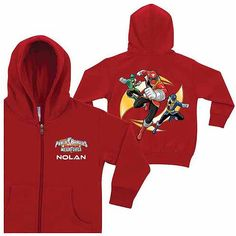 Join the Power Rangers Super Megaforce in the fight against evil. Stay warm while you do it in this zip-up hoodie featuring a Green Ranger, Red Ranger and Blue Ranger design on the back. When you add a name it will appear on the front under the Super Megaforce logo.