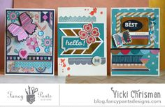 Flutter card trio by Vicki Chrisman using the new Flutter collection by FancyPantsDesigns.com