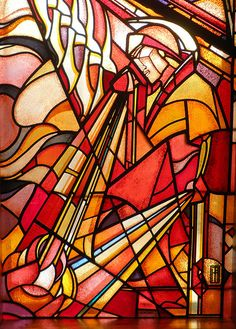 """Stained glass window in department store """"Bijenkorf"""" in The Hague."""