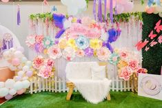 Garden Lounge + Photo Booth from a Pastel Garden Birthday Party on Kara's Party Ideas