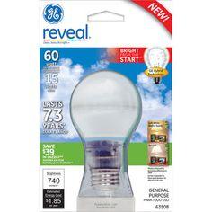 #WalmartGreen GE Reveal 15W Compact Fluorescent Light Bulb, 6 Bulbs