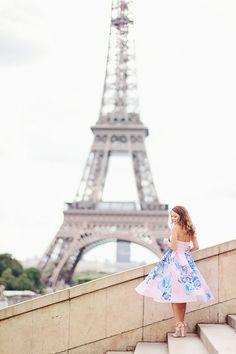 Blue roses dress from Asos in Paris. Tour eiffel. Midi floral dress.