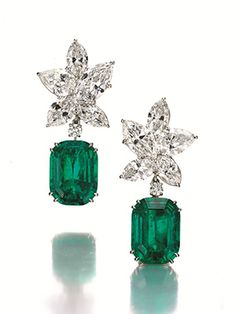 A pair of #emerald and #diamond ear pendants #Harrywinston @harrywinston #christiesjewels