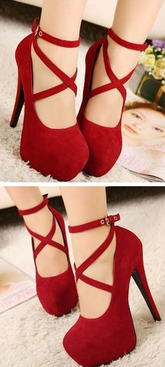 Red Mary Jane cross strap heels // gorgeous shoes for Christmas!