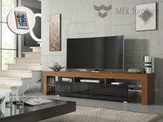 Modern TV Unit Cabinet Stand Walnut Matt and Black High Gloss Doors, FREE LED