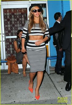 Beyonce stripes pencil skirt crop top