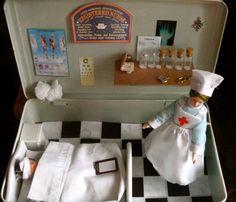 Little hospital inside a vintage First Aid tin. Never Too Old, Altered Tins, Nursing, Simple, Vintage, Vintage Comics, Breast Feeding, Nurses