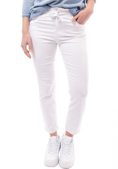 ΠαντελόνιMiss Pinky τύπου jean. Τοπαντελόνιείναι ψηλόμεσο και στη μέση σφίγγει με κορδόνι White Jeans, Pants, Products, Fashion, Trouser Pants, Moda, Fashion Styles, Women's Pants, Women Pants