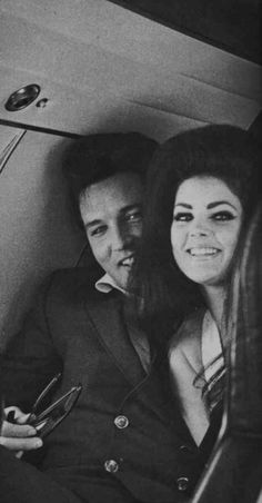 Elvis and Priscilla on the private plane they took after their wedding on their way to their honeymoon.