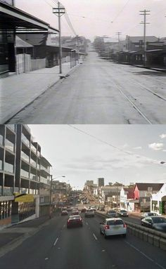 Bridge Street/Victoria Road, Drummoyne, looking towards Lyons Road in circa 1927 and 2014. [circa 1927 - State Library of NSW>2014 - Google Street View. By Phil Harvey] Five Dock, Phil Harvey, Once Upon A Time, Over The Years, Sydney, Past, Bridge, Street View, Victoria