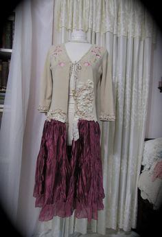 Long Bohemian Sweater Coat altered couture upcycled by GrandmaDede, $85.00