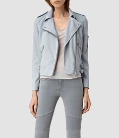 Womens Latham Suede Biker Jacket (Sky Blue) - product_image_alt_text_1