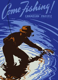 Vintage Fly Fishing Art | Canadian Pacific Fly Fishing Poster Fine Art Vintage Giclee Print ...