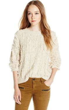 Lucca Couture Women's Fringe Long Sleeve Pull Over Sweater, Ivory, Large ❤ Lucca Couture Womens Contemporary