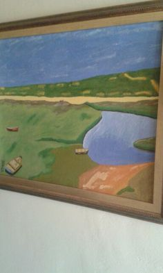 Boats near river. Oil paint on canvas. Artist is Charl Blignaut. 2012