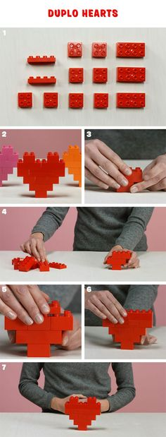 The entire household can unfold the love with LEGO DUPLO Valentine's Day decorations . Lego Valentines, Valentine Crafts, Saint Valentine, Lego Design, Legos, Deco Lego, Lego Therapy, Lego Challenge, Lego Club