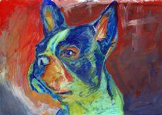 Boston Bull terrier painting dog art print by OjsDogPaintings