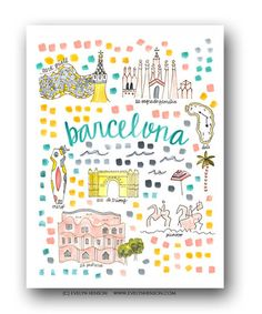 Barcelona Map Print by Evelyn Henson