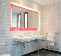 white tiled bathroom.  Like the large wall tiles but would stop part way up the wall.