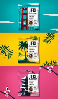 Cosmetic packaging design - We Love The Bright and Bold Illustrated Packaging for JEKL – Cosmetic packaging design Food Packaging Design, Pretty Packaging, Packaging Design Inspiration, Brand Packaging, Branding Design, Product Packaging Design, Coffee Packaging, Bottle Packaging, Packaging Ideas