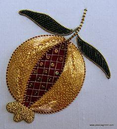 Goldwork Pomegranate on dupion silk. Design: Jessica M. Grimm. I teach this as a class; check out my website www.jessicagrimm.com