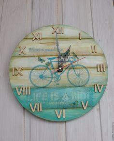 Купить Часы Бирюзовый велосипед - тёмно-бирюзовый, часы, часы декупаж, часы для дома