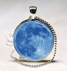 Blue Moon Necklace Full Moon Jewelry Solar System, Outer Space, Science, Astronomy Art Pendant With Ball Chain Included