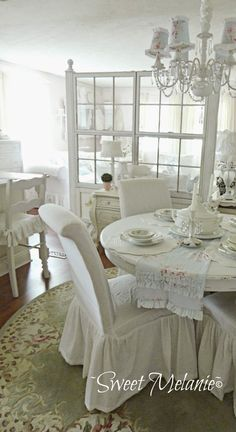 ~Sweet Melanie~: Building a Window Wall... that's the look I want on my round table, the double ruffle on the runner and LOVE the slips on the bar stool chairs as well. So creative and oh so pretty!