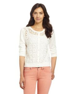 Vince Camuto Women's Daisy Lace Ribbed Trim Cardigan, New Ivory, X-Small
