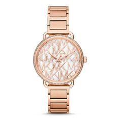 Sale Michael Kors Women's Portia Rose Gold-Tone Watch With a layered rose gold-tone glossy dial with mother-of-pearl logo detail and pavé topring, the ladies' Portia watch is classically chic. A rose gold-tone H-link bracelet completes the look. Bracelet Or Rose, Bracelet Watch, Michael Kors Rose Gold, Michael Kors Watch, Stainless Steel Watch, Stainless Steel Bracelet, Emporio Armani, Festina, Gold Watch