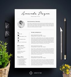 Resume Template with Photo / CV Template  Cover Letter door A1RESUME