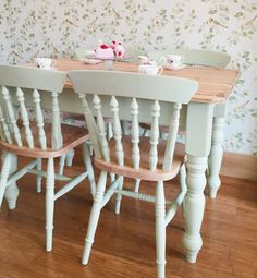 Beautiful Pine Rustic Country Cottage Dining Set Hand Painted by Rosie Loves Vintage in Cooking Apple Green.