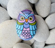 Rock Painted Colorful Owl by Lefteris Kanetis on Etsy. https://www.facebook.com/L.kanetis.paintedstones