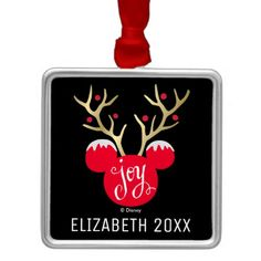 Mickey Christmas Joy | Add Your Name Metal Ornament