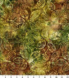 Indonesian Batik Fabric-Tossed Large Leaves Olive, $10
