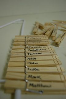 Clothespin Books of the Bible « Sunday School Craft Corner. Number on back of pin to check work. Can use for other things too