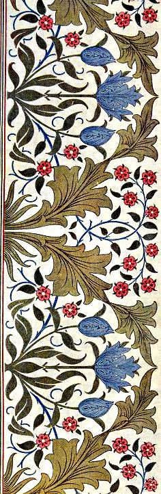 This design is much simpler, Morris has use an off white background to help make the foreground stand out. In this design he has used a simple plant and flower design and has used a variety of colours such as red, yellow, dark green, blue and light green to help create a visually more interesting design despite it being more simple than previous designs.