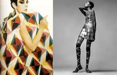 L to R: Peggy Moffitt in Paco Rabanne, circa late 60s; Donyale Luna in Paco