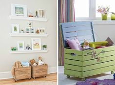 Деревянные ящики в интерьере детской комнаты