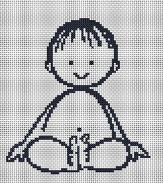 This simple and free cross stitch chart for nursery got deleted when I got my own domain. You can stitch it along with baby girl as part of the set or maybe just this.